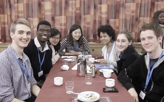 students at conference